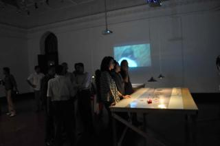 SLICE: London-Lahore, curated by Simon Daw, Fatima Hussain and Paul Burgess, shown in London at Rich Mix and Idea Store, Whitechapel, and in Lahore at the National College of Arts. - installation view at National College of Arts, Lahore
