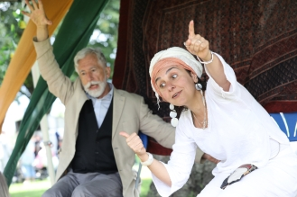 Sef Townsend and Alia Alzougbi performing as East at Great Day Out, Victoria Park. Photo: Rehan Jamil