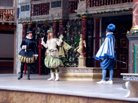 An all-female production of Much Ado About Nothing at Shakespeare's Globe with Josie Lawrence, directed by Tamara Harvey, with costumes by Luca Costigliolo