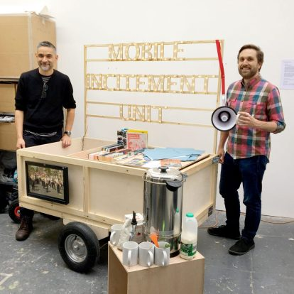 Andy Bannister and Paul Burgess with the mobile incitement unit, Acme Studios, Deptford