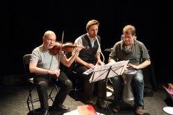 David Solomon, Paul Burgess and John Bryden performing as part of East at Rich Mix as part of A Season of Bangla Drama. Photo Simon Daw
